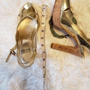 Stuart Weitzman Shoes - Stuart Weitzman Gold SlingBack Sandals Cork Heels